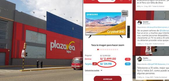 Clientes de Plaza Vea exigen televisores que compraron a 35 soles