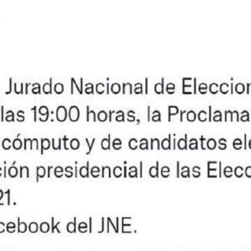 JNE proclamará esta noche a las 7 p.m al próximo presidente del Perú