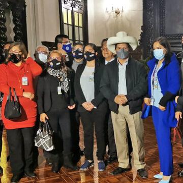Presidente Castillo se reúne en Palacio de Gobierno con Asociación Nacional de Periodistas